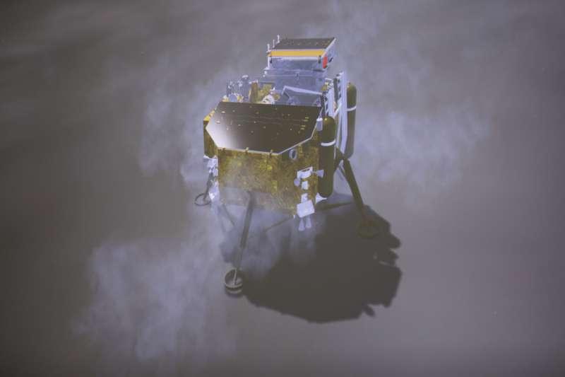 2019年1月3日,在北京航天飛行控制中心拍攝的「嫦娥四號」降落過程(AP)。
