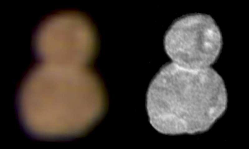 新視野號拍下的太陽系邊緣行星「終極遠境」模樣(美聯社)