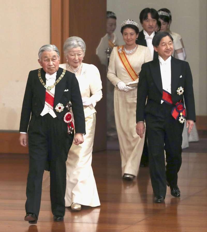 2019年1月1日,日本明仁天皇和皇后美智子、皇太子德仁與太子妃雅子(AP)