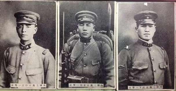 20190104-「肉彈三勇士」照片,由左至右分別為:作江伊之助、北川丞、江下武二。(作者提供)