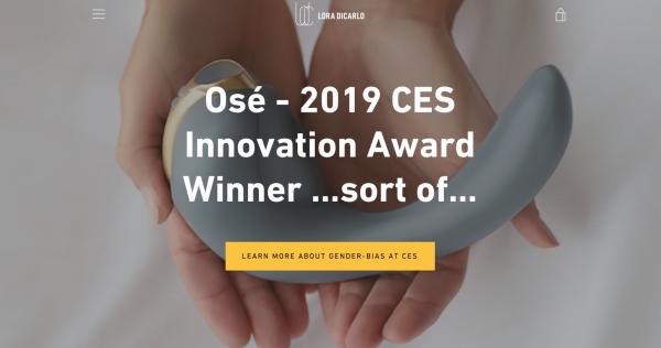 Lora DiCarlo 在官網首頁自嘲此次事件:「Osé - 2019 CES 創新獎得獎作品 ... 算是吧 ...」(圖/數位時代)