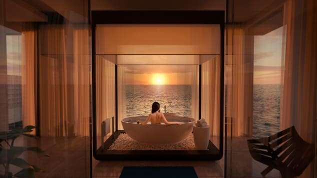 可讓你邊沐浴,邊欣賞夕陽美景的落地窗設計。(圖/瘋設計)