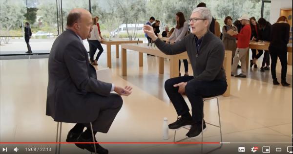 蘋果執行長庫克接受CNBC節目專訪,表示市場過度看衰,蘋果現在狀況很好,而且還打算推出健康服務。(圖/截自Youtube)