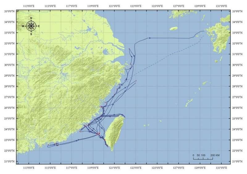 荷蘭東印度公司人員於 1622-1636 年間,進行水文探測的範圍總和。(圖/中研院人文社會科學研究中心─地理資訊科學研究專題中心提供)