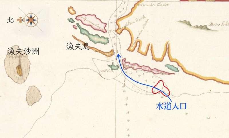 1633 年之前測繪的魍港海圖。藍線標示是可以航行的水道,此時水道入口處深度只有 7-8 呎(紅圈處),大型中式帆船不易出入,要小心翼翼地投測深錘前進。(圖/奧地利國家圖書館提供)