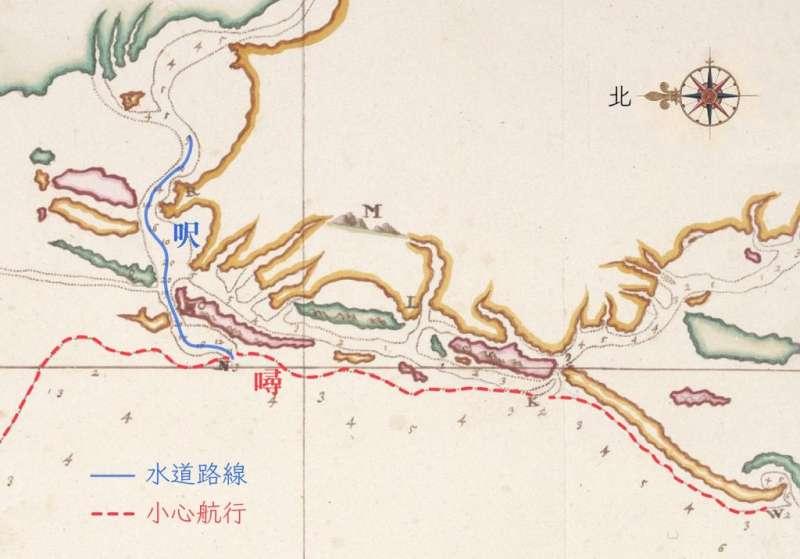 海圖標示的數字,在海岸外圍是以「噚」來計算。而到了海灣內,水道的高低落差變小,就改以較細緻的「呎」來標記。畫虛線處(紅線標示)是會觸底的沙洲範圍,提醒船隻小心行駛。(圖/奧地利國家圖書館提供)