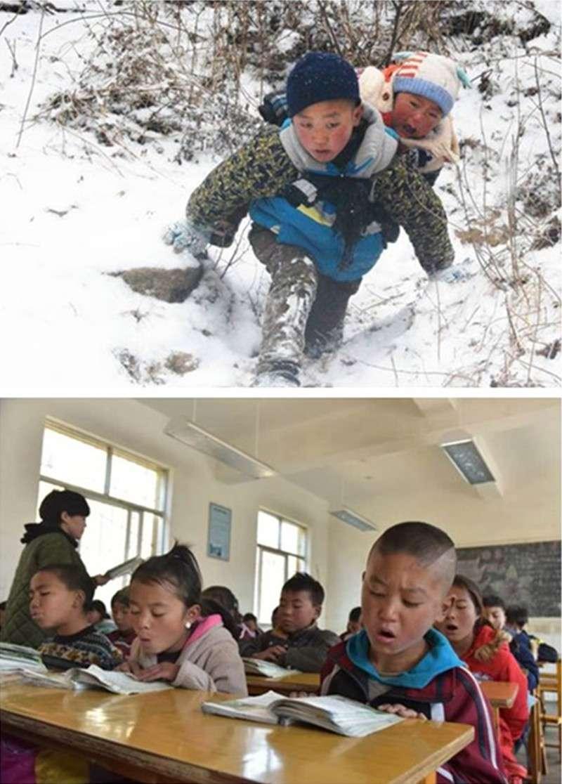 (上圖)2月2日,吉覺吉竹背著弟弟下山,前往申果鄉沙苦新村的外公家。(下圖)吉覺吉竹和家人從山上搬遷後,在新家附近的學校就讀。(新華社)