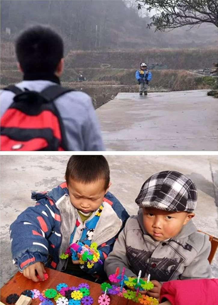(上圖)2017年春節前夕,石欣的兒子在村口等待他回家。(下圖)石欣的兒子(右一)在村裏的幼稚園和小朋友玩耍。(新華社)