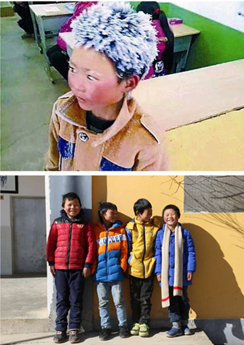 (上圖)王福滿在零下9℃的天氣,趕4公里多山路到學校考試。滿頭頂冰花、滿臉通紅的他被網友稱為「冰花男孩」。(2018年1月10日圖片來自網路)(下圖)升入四年級的「冰花男孩」(右一)和同學們一起曬太陽。(新華社)