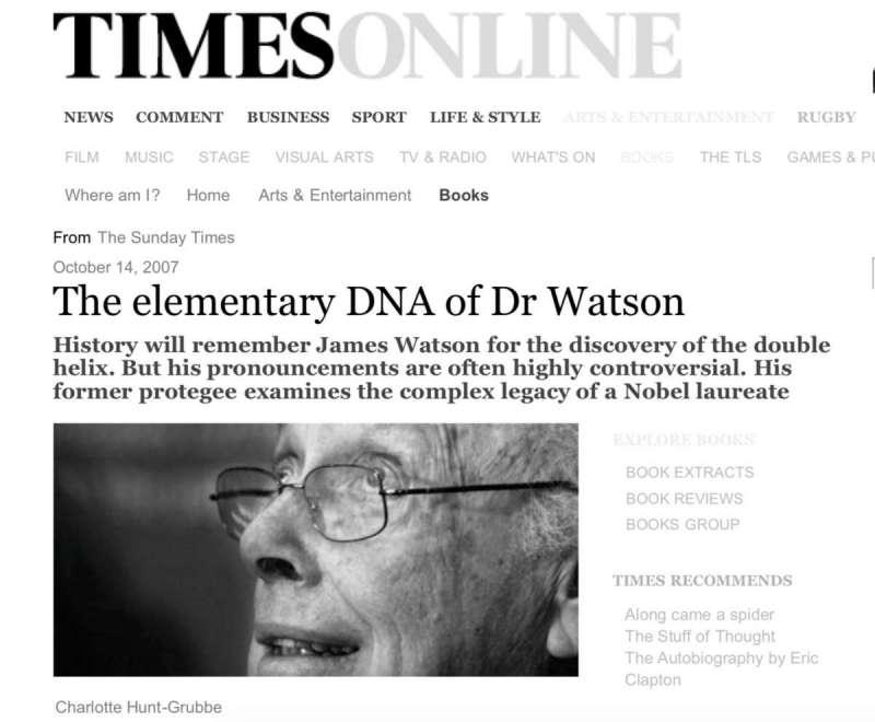 華生當年接受《週日泰晤士報》訪問,歧視黑人的看法曾引發軒然大波。