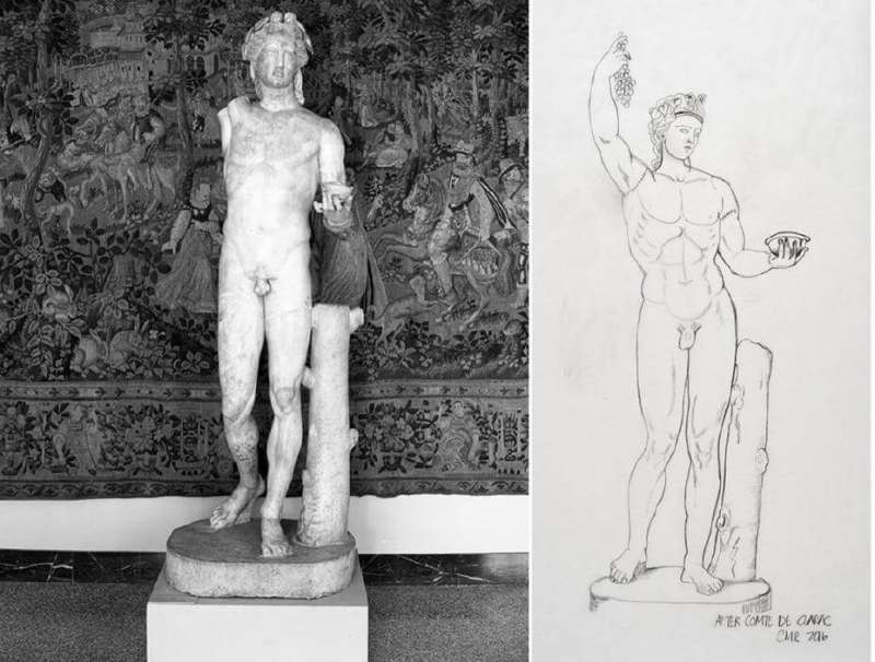 1950年的雕像照片,以及1830年顯示完整雕像樣貌的圖像。(圖/取自NCMA,非池中藝術提供)