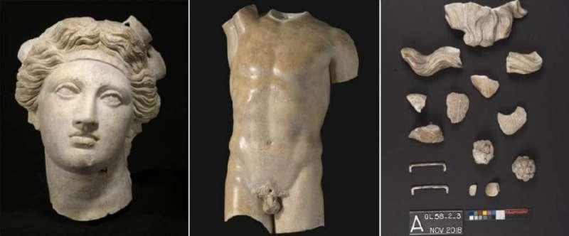 左起:酒神狄奧尼索斯(Dionysos)的頭(約1-3世紀); 青年軀幹(大約2世紀); 頭髮局部、葉子、果實等雕塑碎塊(約17世紀)。(圖/取自NCMA,非池中藝術提供)