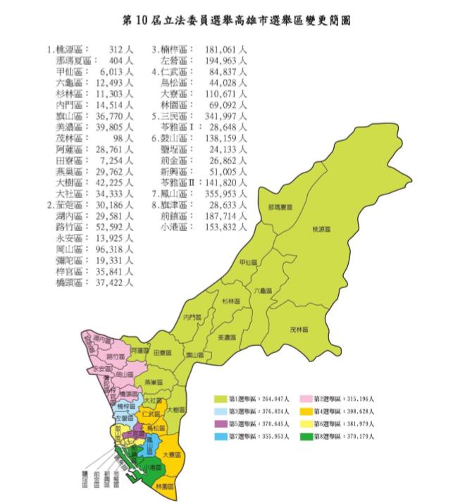 20190118-圖為2020年第10屆高雄市立委選舉區域變更圖。(擷取自中選會選區劃分案檔案)