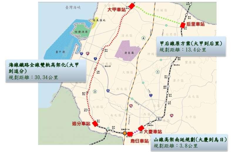 大台中山中線計畫圖,完成後可建構全程77.2公里環狀軌道系統,串連全市15個行政區。(取自台中市政府)