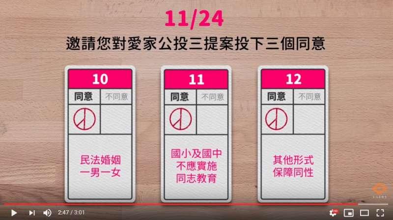 2018年10月13日_反同公投影片「下一代未來,取決於你」。愛家公投3提案。(取自Youtube頻道「台北靈糧堂」)