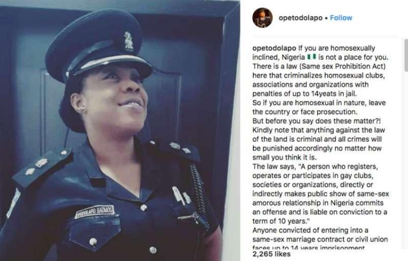奈及利亞總警司芭德莫斯在Instagram發文,警告同志反同惡法迫害,勸他們離開奈及利亞。(美聯社)