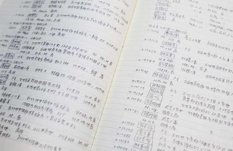 許雪姬初期手抄旅券資料,一筆一筆帶回臺灣。(圖/許雪姬提供)