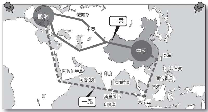「一帶一路」的構想與南海示意圖。(時報出版提供)