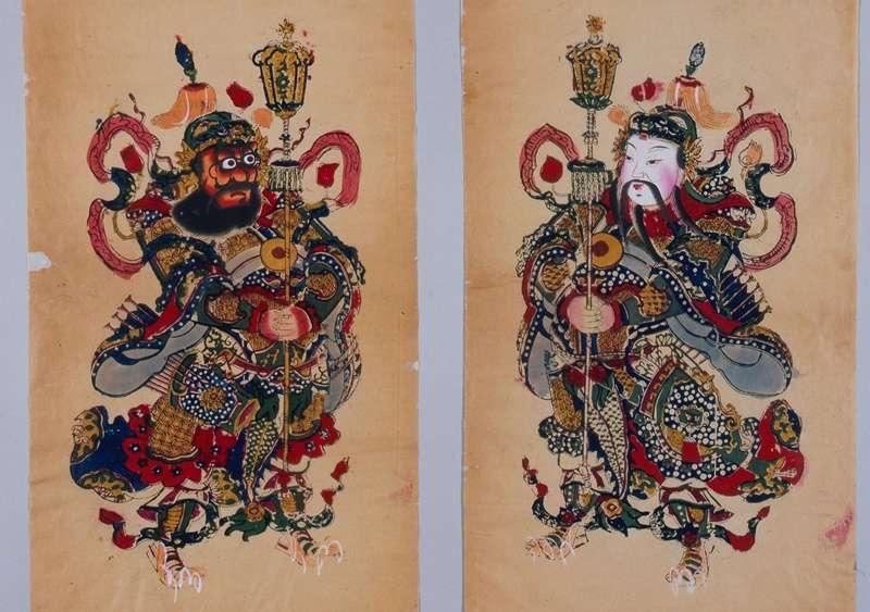 44古中國木版設色年畫《神荼鬱壘》,現藏日本早稻田大學圖書館(圖/時報出版)