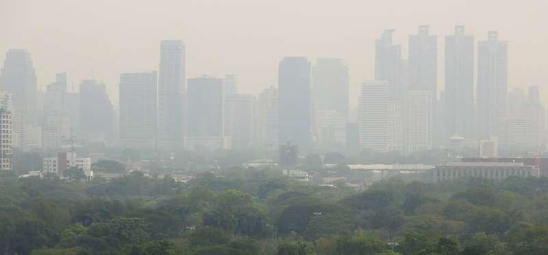 PM2.5超標,曼谷空氣一片霧茫茫。(AP)