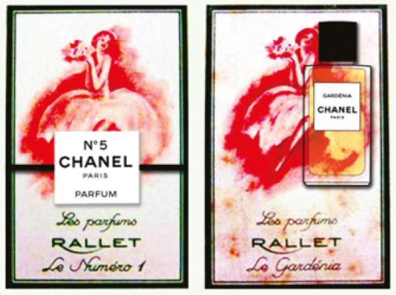 20190131-1920年代的Chanel香水廣告,上面同時打上Rallet 一號和香奈兒五號的字樣。(圖/作者Valerie若維)