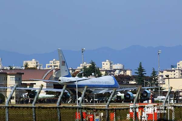 20190131-美國總統訪問東京,空軍一號都是降落橫田基地。(圖/想想論壇提供,陳威臣攝影)