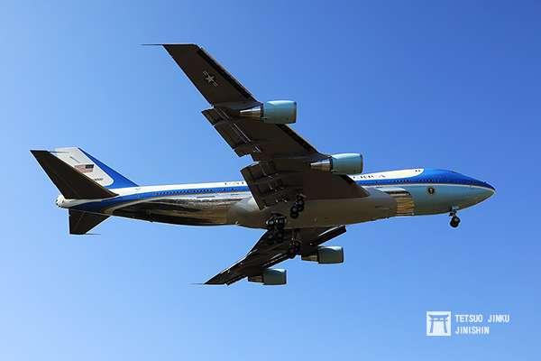 20190131-準備降落橫田基地的美國總統座機空軍一號。(圖/想想論壇提供,陳威臣攝影)