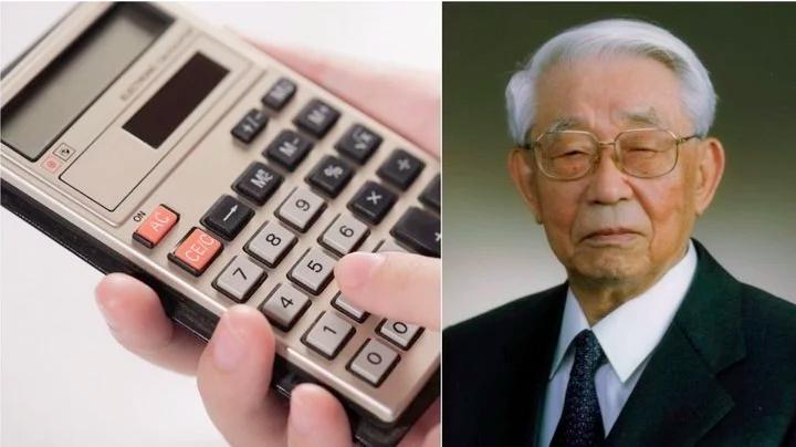 夏普個人計算器與夏普前社長佐佐木正。(圖/愛范兒提供)