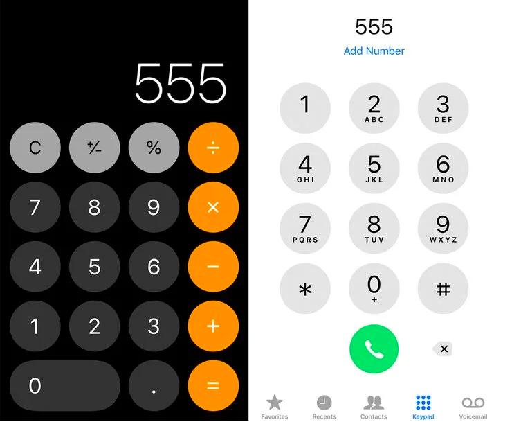 左邊為計算器,右邊為電話撥號盤。(圖/愛范兒提供)