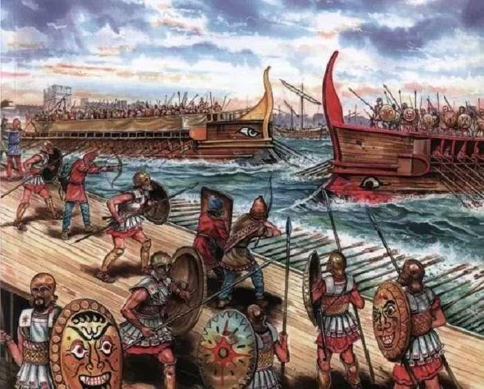 伯羅奔尼撒戰爭,雙方海軍對峙。(網路圖片)
