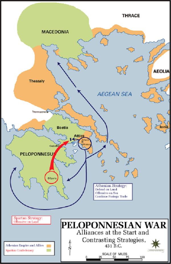 伯羅奔尼撒戰爭形勢圖。(維基百科)