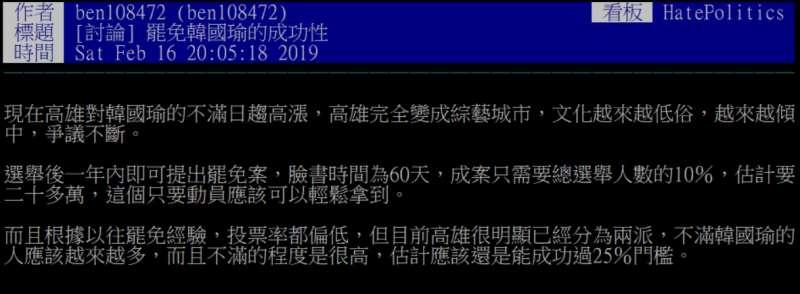 2019-02-16_PTT網友想罷免高雄市長韓國瑜。(截圖自PTT)