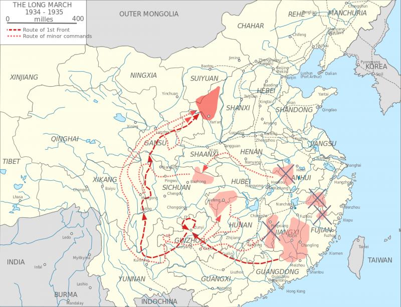 中國共產黨「兩萬五千里」長征路線圖(圖/維基百科)