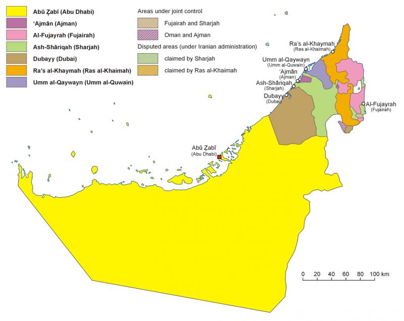 阿拉伯聯合大公國行政劃分圖。(圖/維基百科)