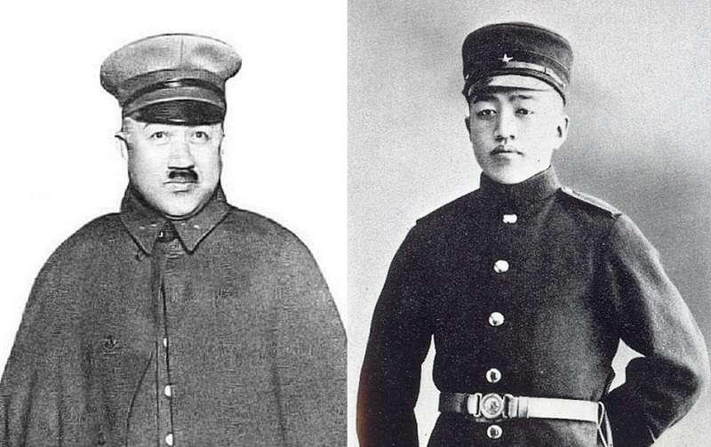 1930年代的土肥原(左 ),陸軍幼校時代的土肥原(1903∕右)。維基百科