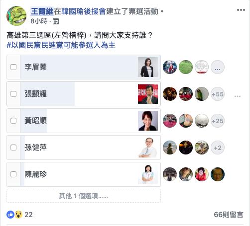2019-02-26_高雄市立委選舉,在臉書辦投票,議員李眉蓁暫居第一。(截圖自臉書)