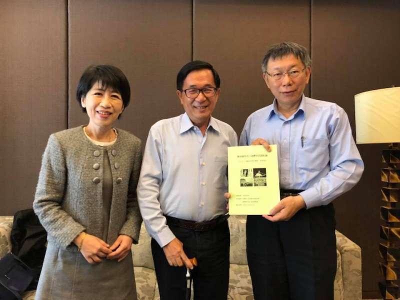 台北市長柯文哲今(1)日至高雄拜訪前總統陳水扁。(取自陳致中臉書)