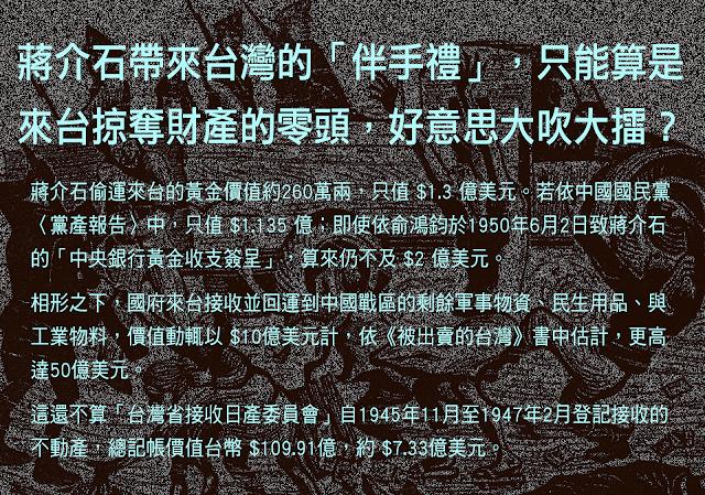 20190303-監委陳師孟在部落格「尖尾週記」,細數前總統蔣中正「來台掠奪」的財產金額。(取自尖尾週記)