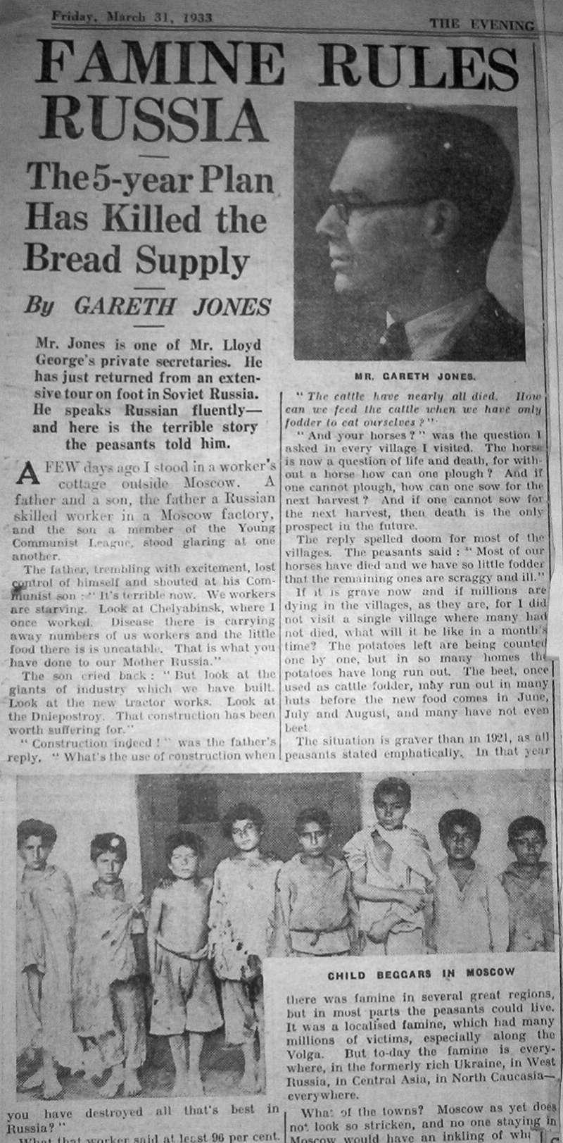 蓋瑞斯.瓊斯(Gareth Jones)1933年對烏克蘭大饑荒的報導(https://www.garethjones.org/)