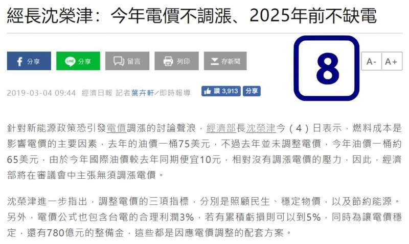 經濟部長沈榮津說明2025前不缺電、今年不漲電價(取自王明鉅臉書)