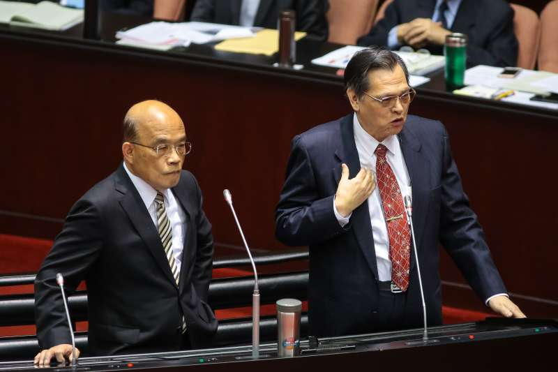 20190305-陸委會主委陳明通(右)、行政院長蘇貞昌5日於立院備詢。(顏麟宇攝)