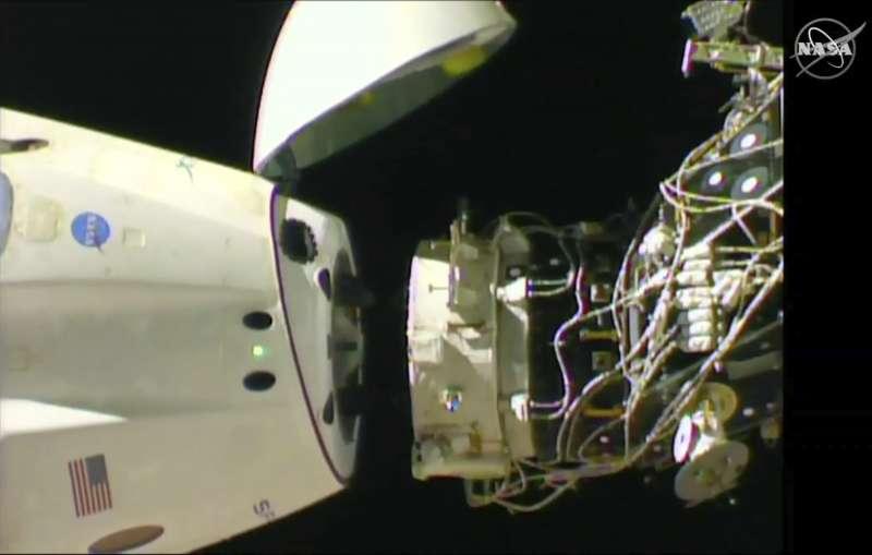 2019年3月8日,美國SpaceX「天龍乘員號」(Crew Dragon)太空船離開國際太空站(ISS)(AP)