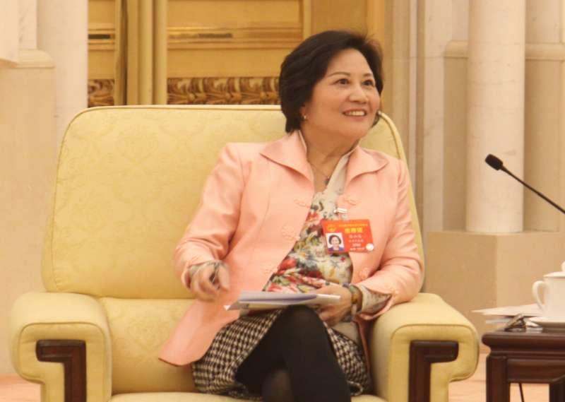 林毅夫之妻人大台灣省代表陳雲英指出,她組織的台灣高教師參訪團與中國教育部商談,催生台灣高中生免試入學中國高校政策。(張家豪攝)