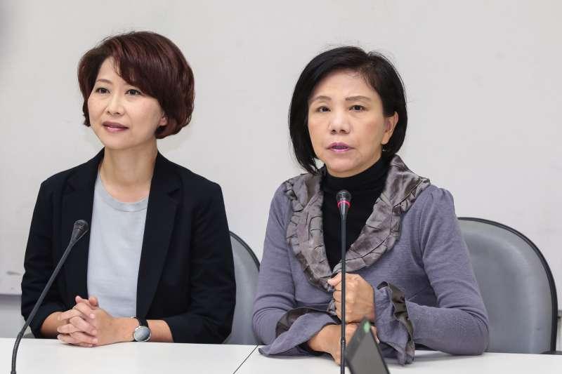 20190312-民進黨立委陳亭妃(左)、葉宜津(右)12日出席「分區固票 團結作戰 」記者會。(顏麟宇攝)