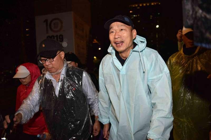 20190312-高雄市長韓國瑜夫婦12日冒雨出席「高雄春天藝術節」。(高雄市政府提供)