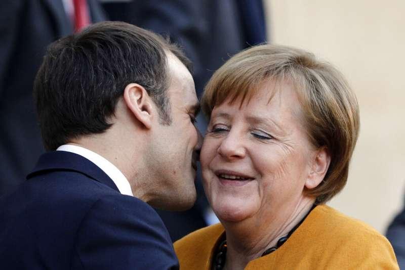 德國總理梅克爾與法國總統馬克宏。(美聯社)