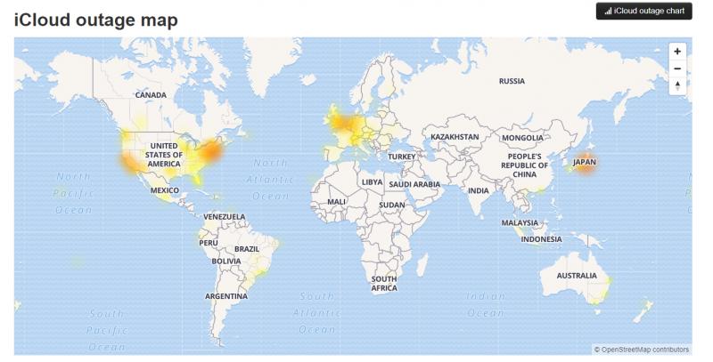 監控網站顯示iCloud全世界受影響地區圖。