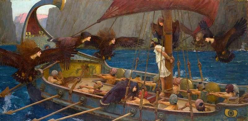 奧德修斯早有耳聞關於賽蓮的故事,想要聽聽看她們的歌聲。所以他要求船員們全部戴上耳塞,而將他自己綁在船桅上。(圖片取自維基百科)