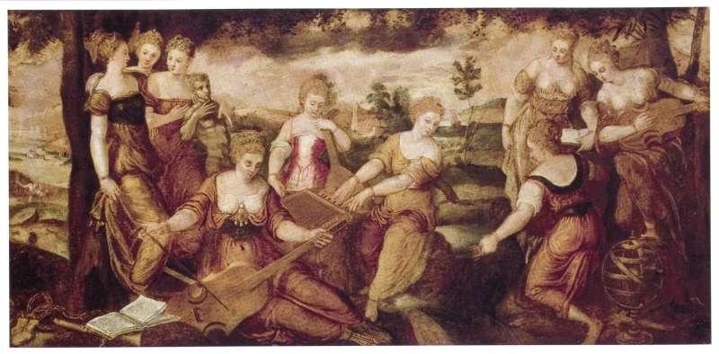 宙斯和記憶的泰坦女神謨涅摩敘涅( Mnemosyne)生下的九位謬思女神。(圖片取自維基百科)