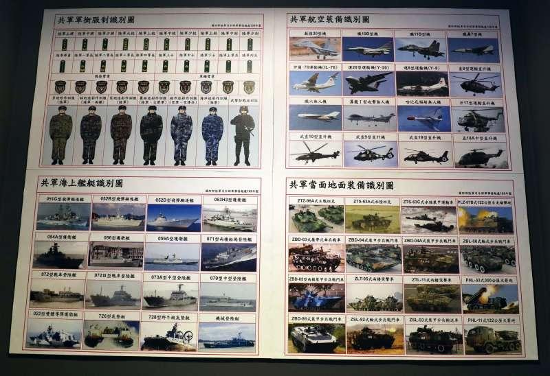 20190315-陸軍步兵特展今天登場,模擬崗哨中懸掛有共軍機艦識別圖,相當特別。(蘇仲泓攝)